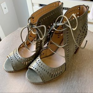 Army Green Lace Up Heels